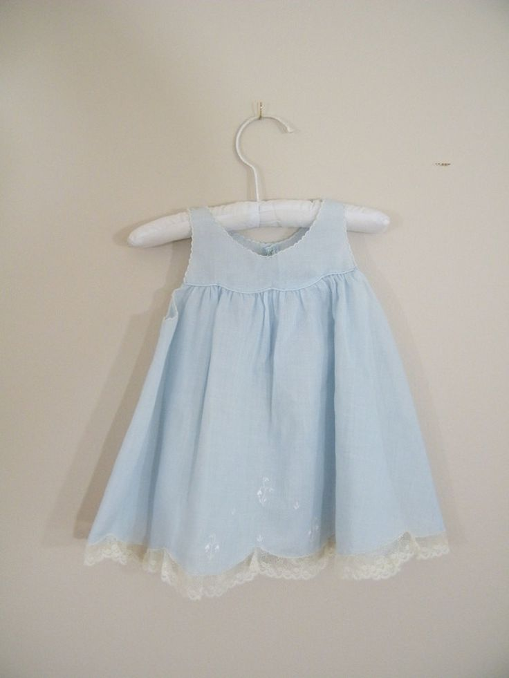 Vintage 1950s Blue Baby Dress / Bluebells and Lace.