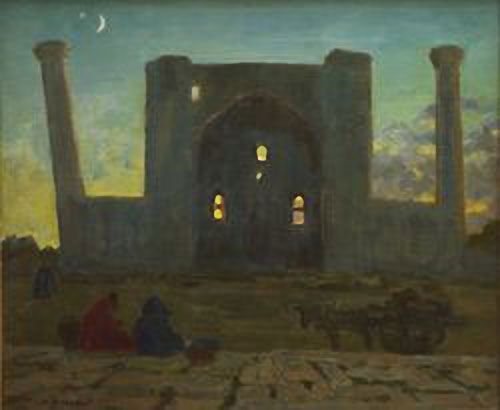 Samarkand. Evening. Ulugbek madrasah. 1943. Nikolay Ulyanov 1875-1949. Icon-painting studio 1887-1889, classes in painting1888-1889, the Moscow School of Painting, Sculpture and Architecture 1889-1900. He worked as an assistant in the 1900-1903 and as a teacher 1901-1907. Italy (1907) France and Germany 1909-1912. He worked as a teacher of drawing at the Fine Arts Department 1919-192. In 1942-1944, Ulyanov was sent to Transcaucasia then to Samarkand, where he worked as a professor of Art.