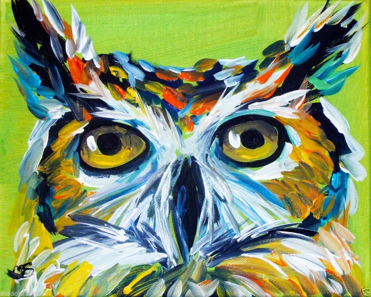 ABSTRACT ORIGINAL ART COLORFUL CANVAS PAINTING,8X10 IN.OWL ...