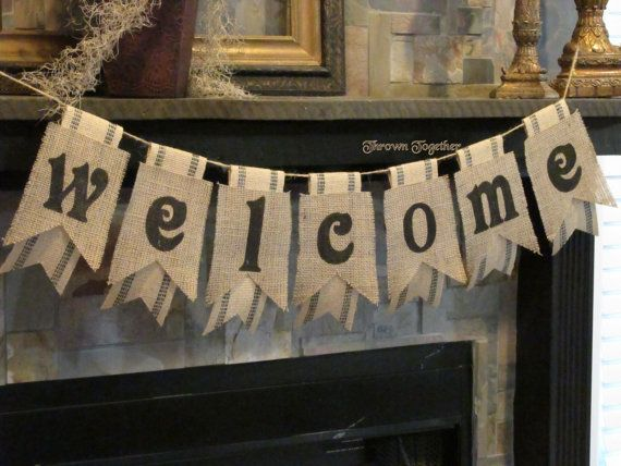 WELCOME Banner Burlap & Black Webbing Pennants by ThrownTogether, $39.00