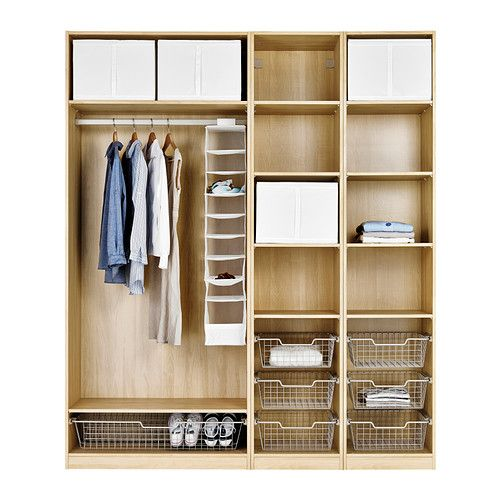Ideas For Ikea Pax Wardrobe ~ PAX Wardrobe with interior organizers  shelving + wire drawers on