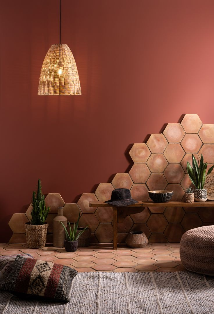 Combine our traditional handmade terracotta tiles with urban décor for an earthy, on-trend look.