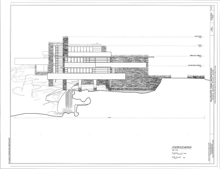Scale Drawings, Sections, elevations, fallingwater
