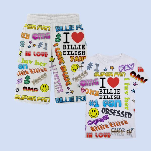 Billie Eilish X Freak City Super Fan All Over Print T Shirt Shorts Set Digital Album Giftryapp T Shirt And Shorts Billie Billie Eilish Merch