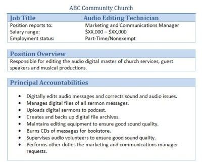 Best Church Stuff Images On   Job Description
