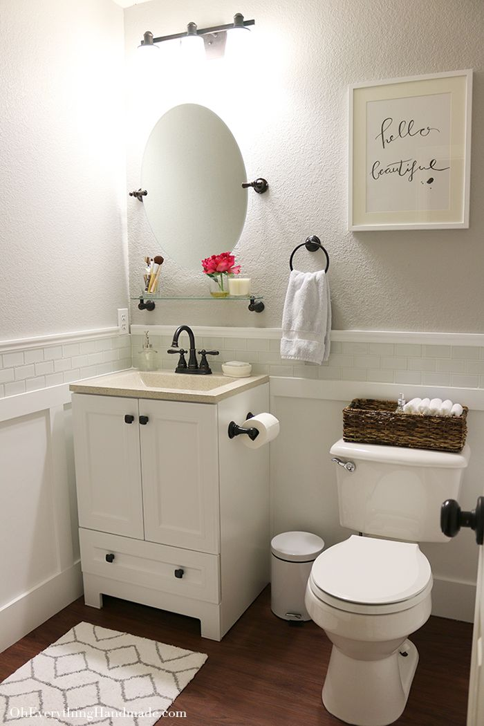 Elegant Reveal // Powder Room Makeover. Bathroom SignsBathroom MirrorsBathroom  IdeasHalf Bathroom DecorSmall ...