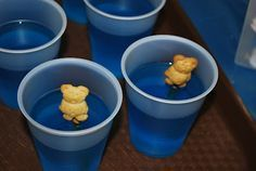 """Jesus walks on water Sunday school lesson. Blue jello with a teddy graham as Jesus. """"Glue"""" teddy graham to pretzel stick with almond bark or frosting. I am so using this one."""