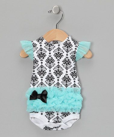 LOVE THIS!  Now somoene have another baby girl!  Take a look at this Turquoise Damask Tutu Bodysuit  by Vitamins Baby on #zulily today!