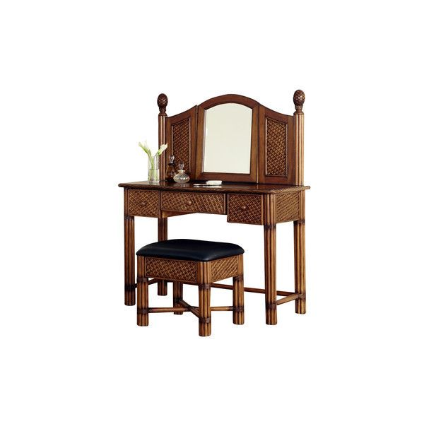 Home Styles Bermuda Vanity and Bench Espresso Finish ❤ liked on Polyvore featuring home, furniture, tables, dark brown table, dark brown furniture, chestnut table, brown coffee table and chocolate brown furniture
