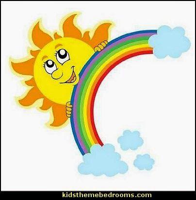Sun with Rainbow wall mural decal