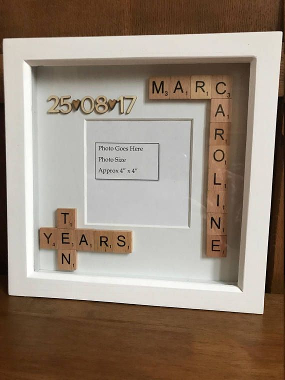 Personalised Scrabble Photo Box Frame. Anniversary Christmas