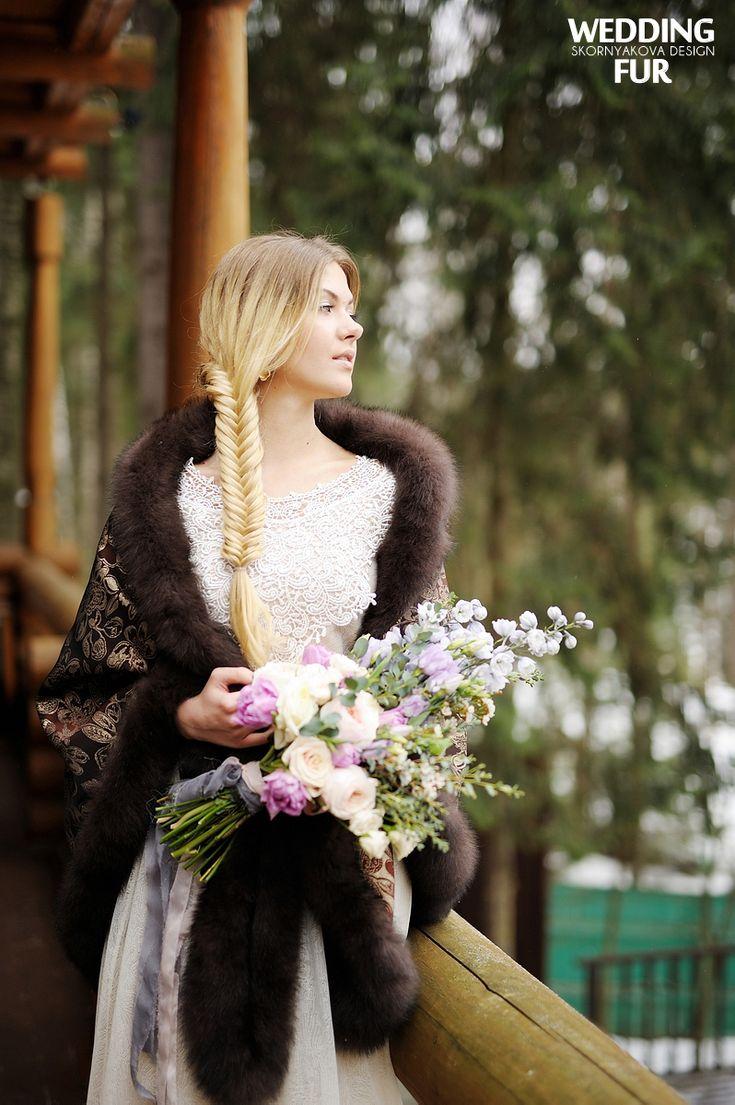 #Russia #wedding #folk #bride wedding day sable fox silk furhat   Свадьба в русском народном стиле: свадебный декор с полевыми цветами, стол с пирогами и блинами, сбитень в графинах, кружевной сарафан невесты, и многие другие детали, передающие дух боярской свадьбы  деревянном русском доме!