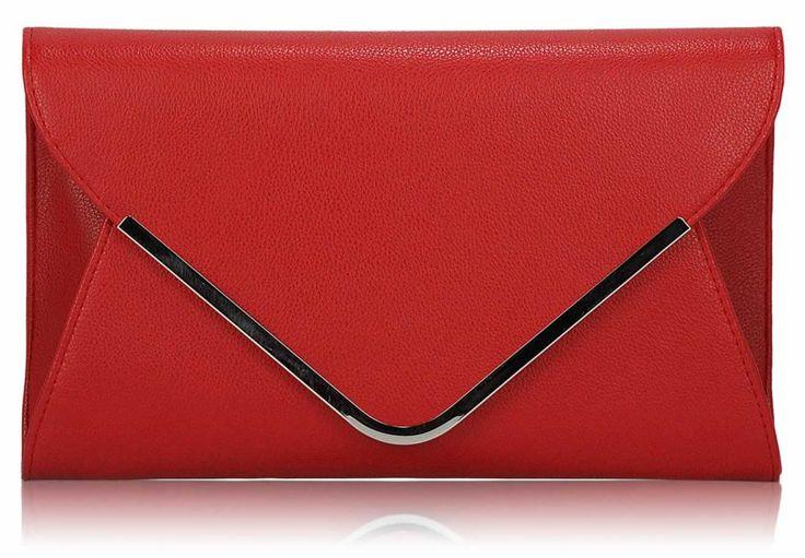Listová kabelka s kovovým lemom, červená