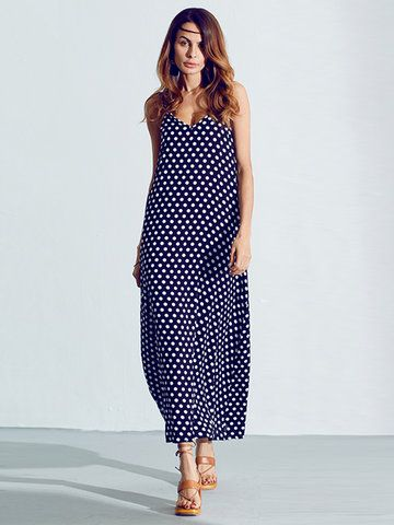 Sexy Women Sleeveless Strap Polka Dot Backless V Neck Summer Beach Dress