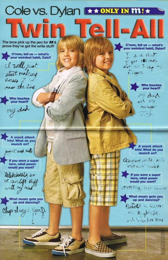 "DYLAN & COLE SPROUSE in SHORTS - ALY & AJ - 11"" x 8"" PINUP - POSTER - TEEN ACTOR"