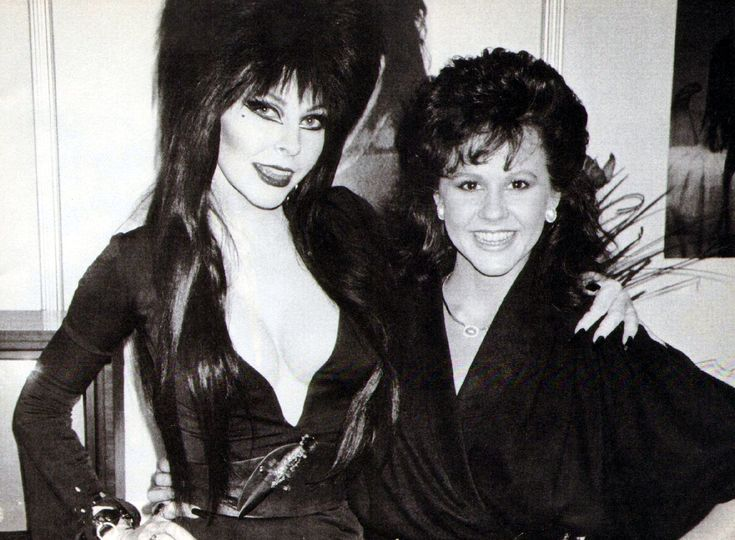 Two gals who make heads spin Linda Blair and Elvira.