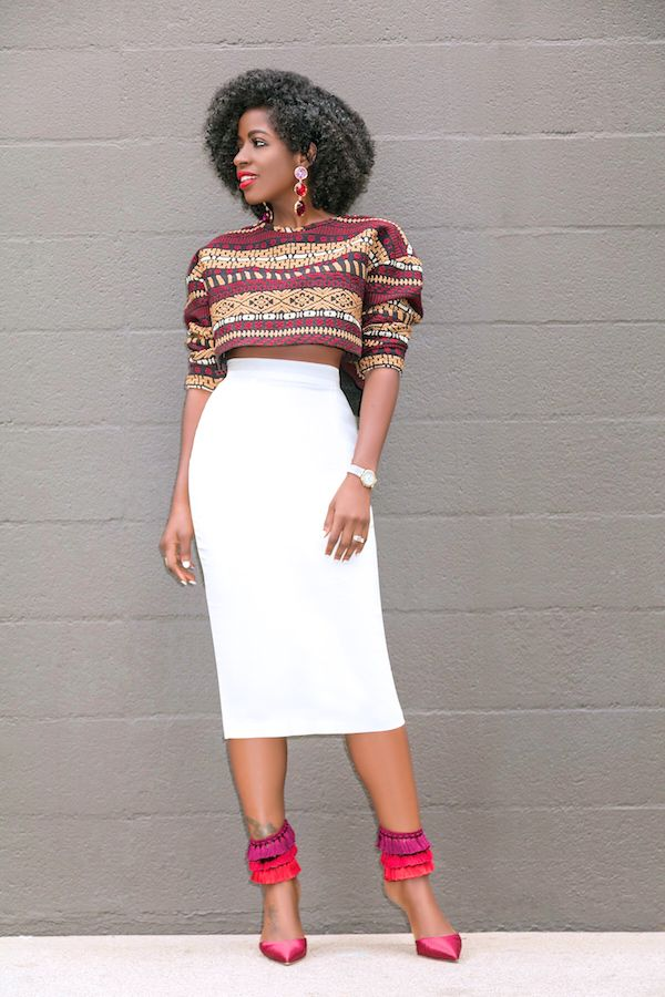 e7e7efc72 Style Pantry | Embroidered Crop Top + High Waist Pencil Skirt | My ...