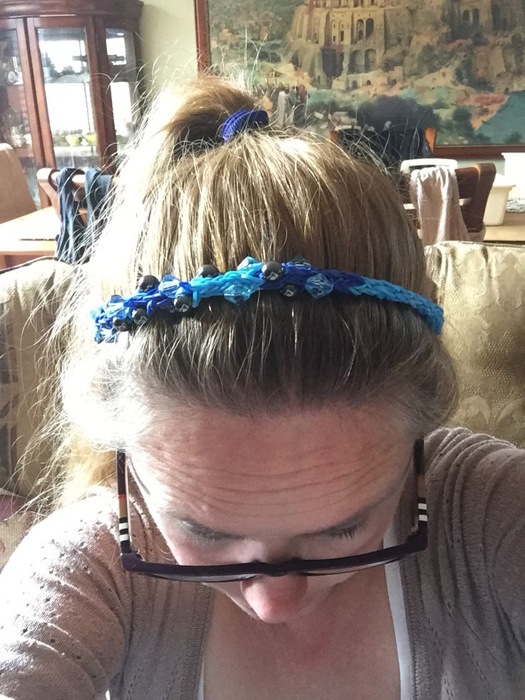 Playing with the Rainbow loom - Made a long chain and made it a hair band