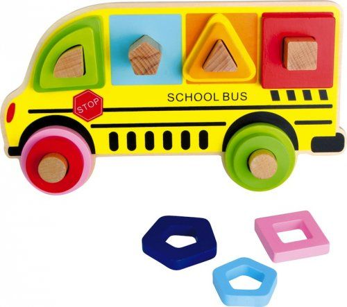 Παζλ με σχήματα Σχολικό Λεωφορείο/ Plug Puzzle Shapes School Bus