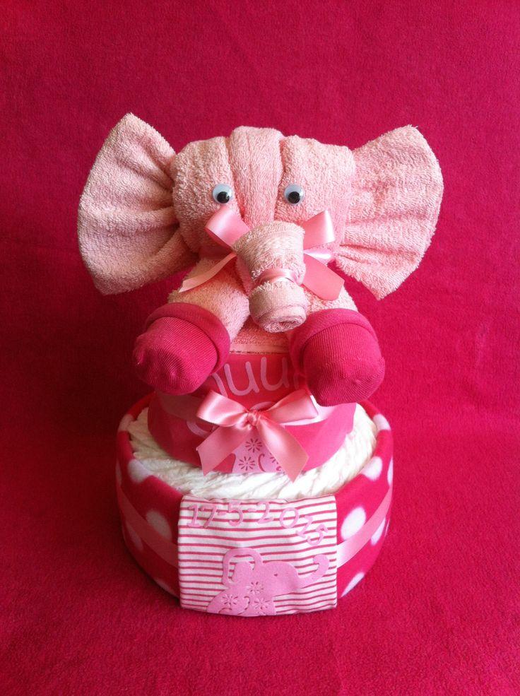 Roze olifantjes luiertaart met naam