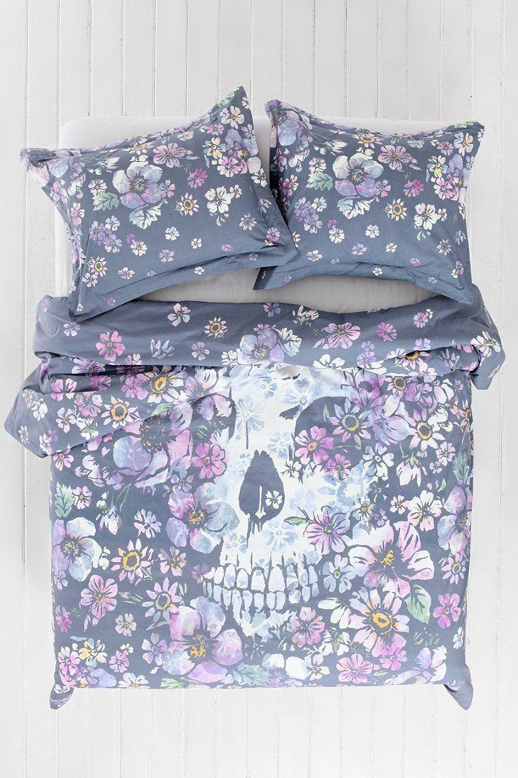 Plum & Bow Skull Flower Duvet Cover