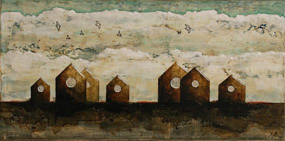 Original art bird houses painting birds and nest boxes