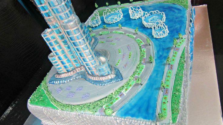 Burj khalifa fountain Cake