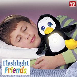 "Product # HC6655 - Huggable, lovable playmates turn on with just a tap! Kids will never feel alone in the dark when this cuddly, plush pal's comforting light is glowing. Cool-to-the-touch flashlight has a 10-minute auto shut-off feature. Great at bedtime; makes a fun reading light too! Requires 3-AAA batteries (not included). Ages 4+. Approx. 9""H.  $27.98"