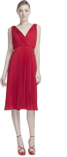 Valentino Red Georgette Double Sleeveless Plisse Dress.