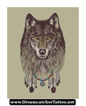 Indian Wolf Dreamcatcher Tattoo 16 - http://dreamcatchertattoo.net/indian-wolf-dreamcatcher-tattoo-16/