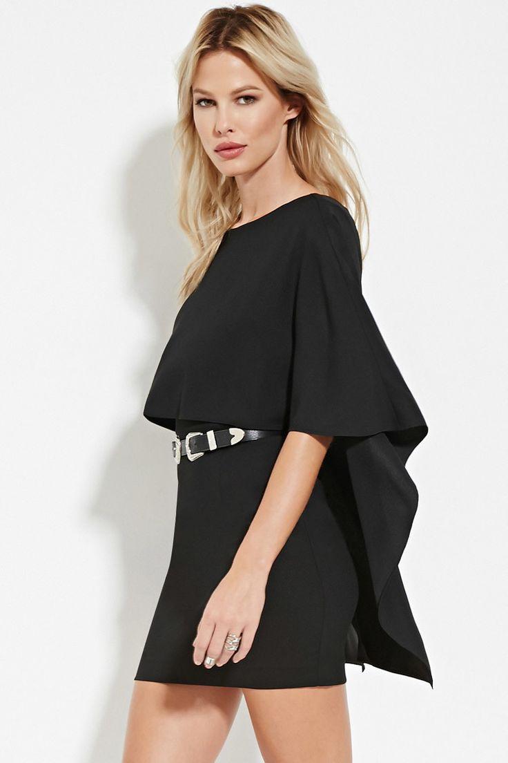 Cape-Sleeve Mini Dress