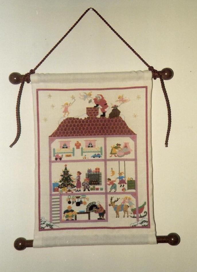 casa navidad nevada papa noel punto de cruz