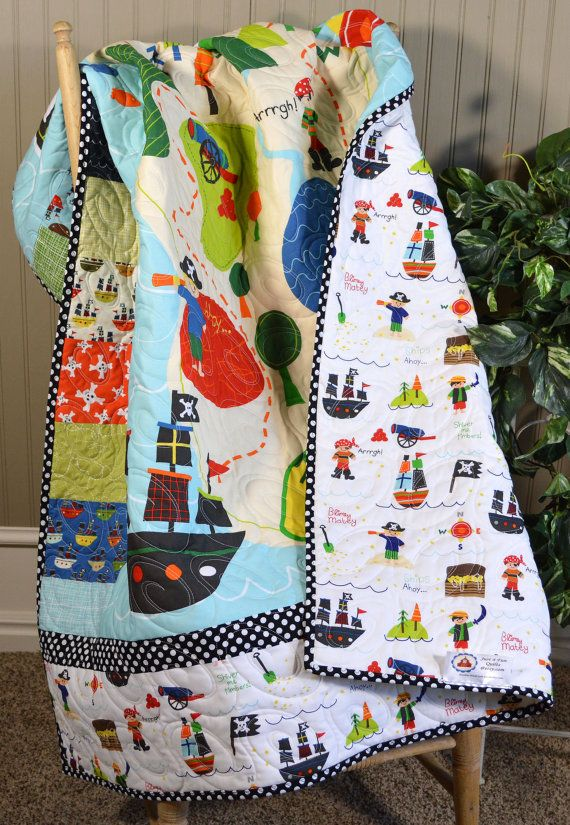 Pirate Quilt Treasure map bedding Boy play quilt by Just4FunQuilts
