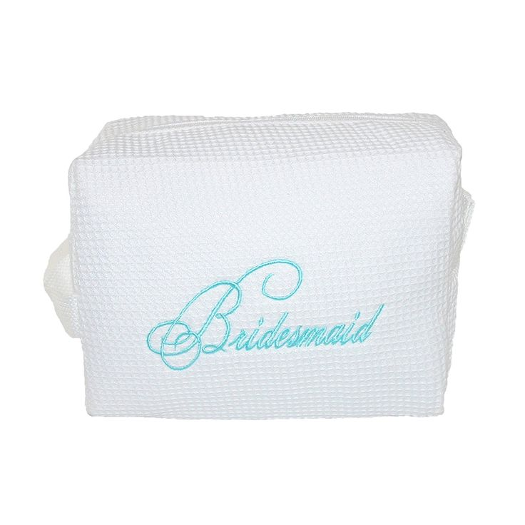 Hortense B. Hewitt Womens Cotton Waffle Weave Bridesmaid Cosmetic Bag, White ** Check this awesome image  : Travel cosmetic bag