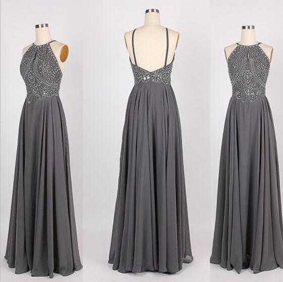 Long prom dress, grey prom dress, backless prom dress, chiffon beading prom dress, inexpensive prom dress, elegant prom dress, evening dress, 15075 - Thumbnail 1