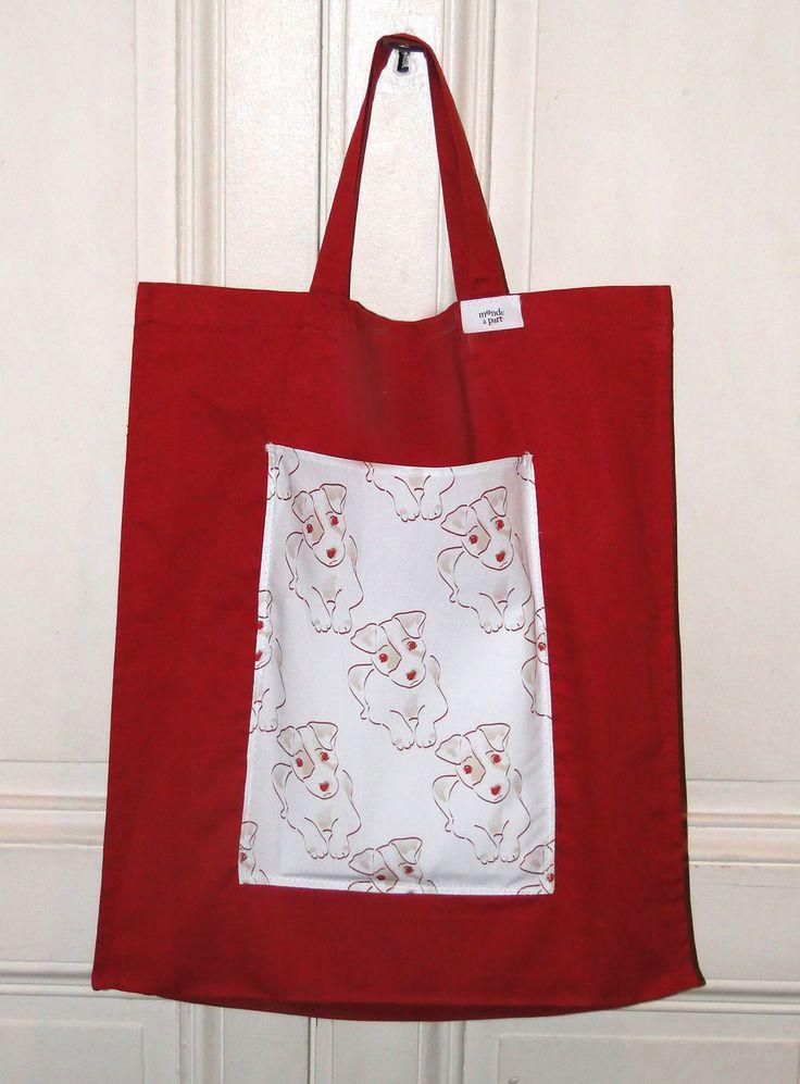 """sac cabas shopping en tissu bordeaux, une poche tissu chien """"waouf"""" : Autres sacs par 1-monde-a-part"""
