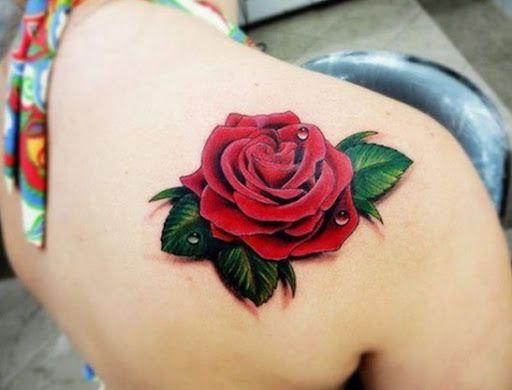 3D Rosa Vermelha Desenho de Tatuagem para as Mulheres