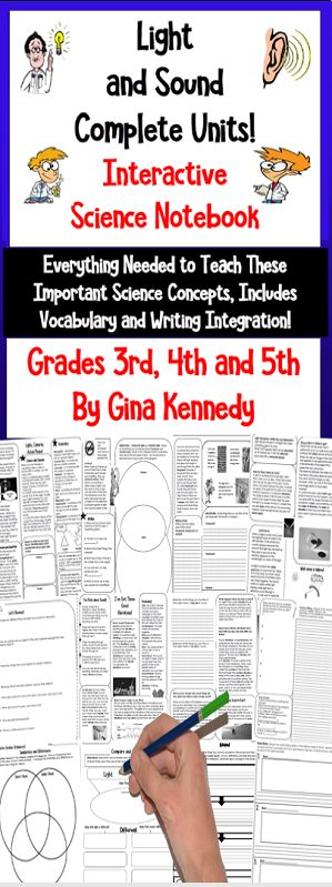 No-prep, Light and Sound Interactive Notebook!, a complete with thorough lessons, vocabulary, response activities, writing activities, and assessments. This is an easy, engaging way to teach students about these important science concepts. Print and go science lessons!  This interactive notebook includes vocabulary, lessons, higher level thinking prompts and questions and reviews.$