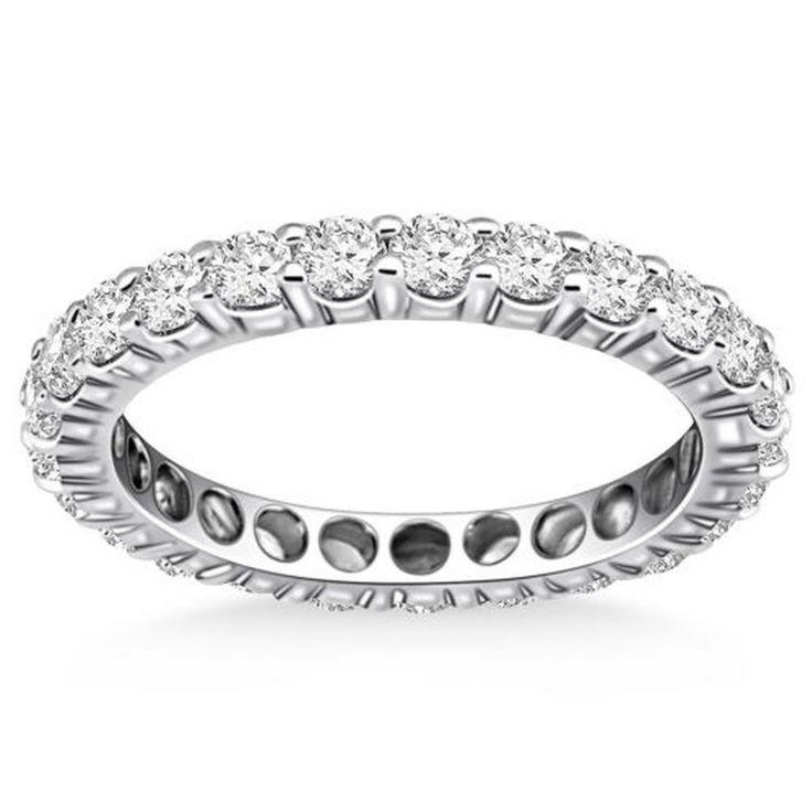 Timeless Round Cut Diamond Eternity Ring 14K White Gold #Handmade #WithDiamonds
