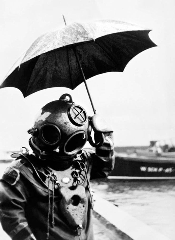 escafandro e o guarda chuvas