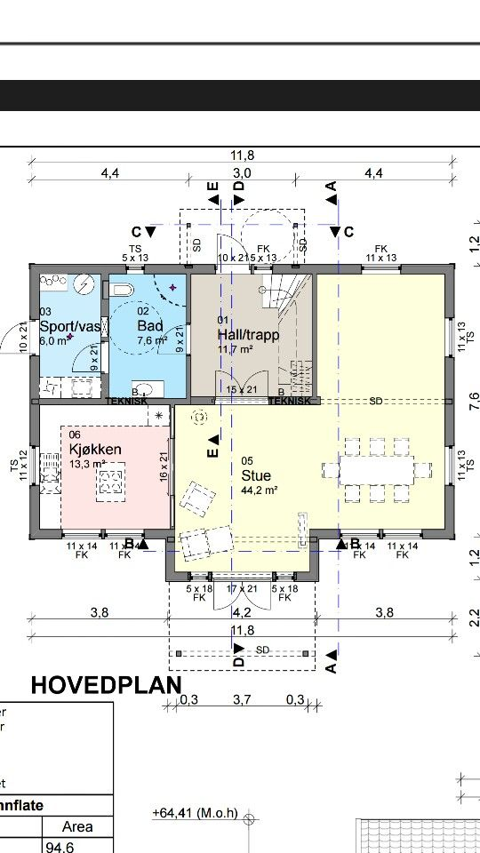 Hovedplan 1.etasje i huset vårt iechus