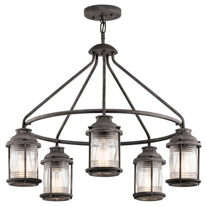 A traditional rustic design 5 light outdoor chandelier in a weathered zinc finish with clear seeded glass lanterns. The light comes supplied with two 15.2cm and two 30.5cm rods allowing the light to be situated at various heights, it is also IP44 rated making it safe for exterior use. This would be great for lighting in a porch of a period setting. It is also suitable for use on a standard switch, dimmer switch or separate PIR motion sensor providing the bulbs used are suitable.