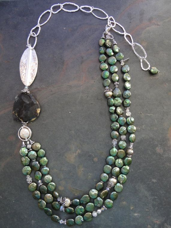Asymmetrical Pearl and Stone Necklace by kpottery on Etsy, $210.00