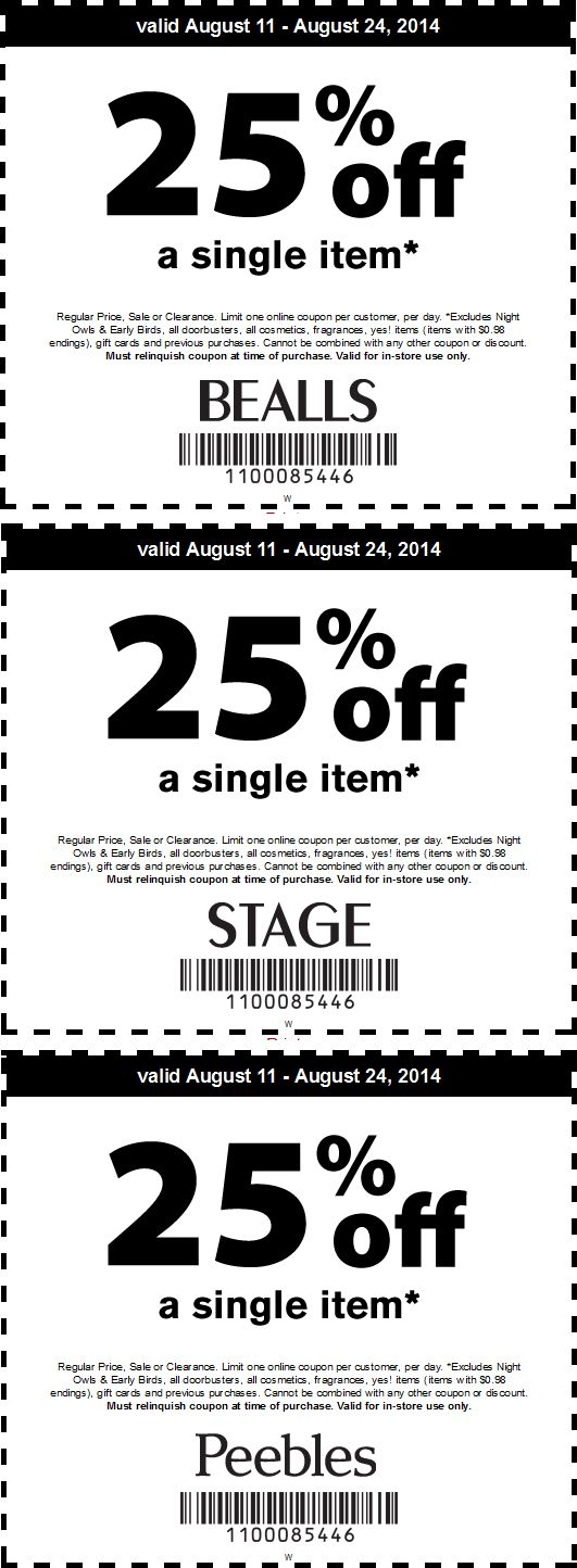 Pinned August 15th: 25% off a single item at Bealls, #Stage & Peebles #coupon via The #Coupons App