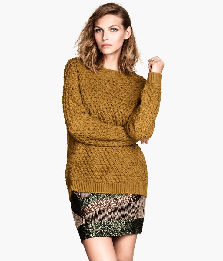 Soft, long-sleeved, textured-knit sweater in golden brown. Offset with a fun sequin skirt for a playful touch. | Warm in H&M