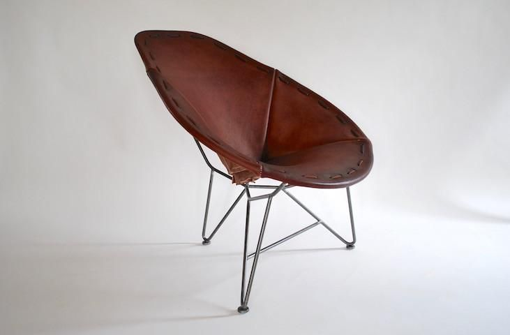 Saddle Leather Oval Chair