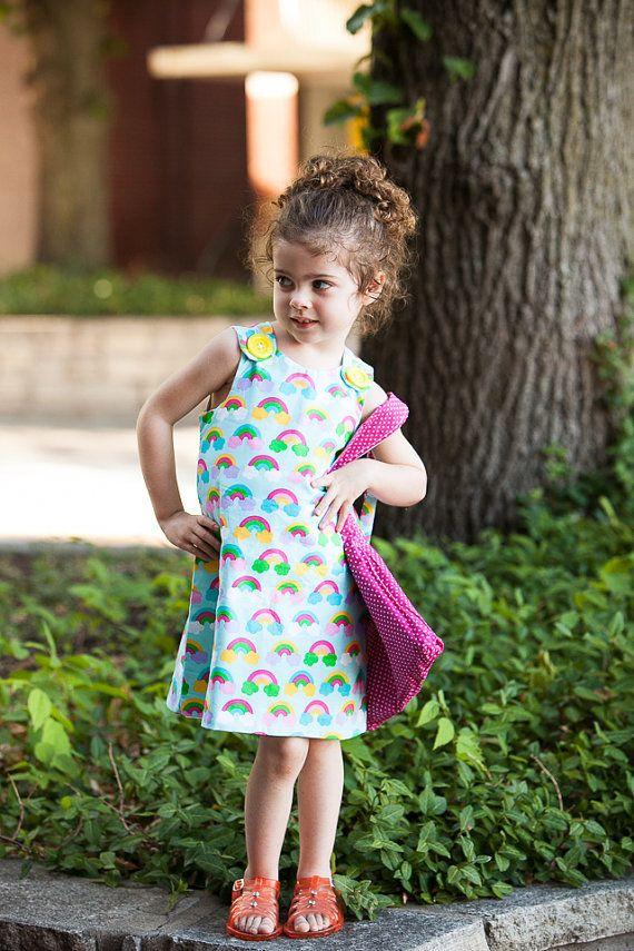 Rainbow dress, pinafore dress for girls