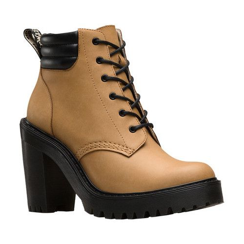A fashion heel, with the durability of an outdoor boot, the women's Dr. Marten's Persephone 6 Eye Padded Collar Boot is a must-have. - #drmartensshoes
