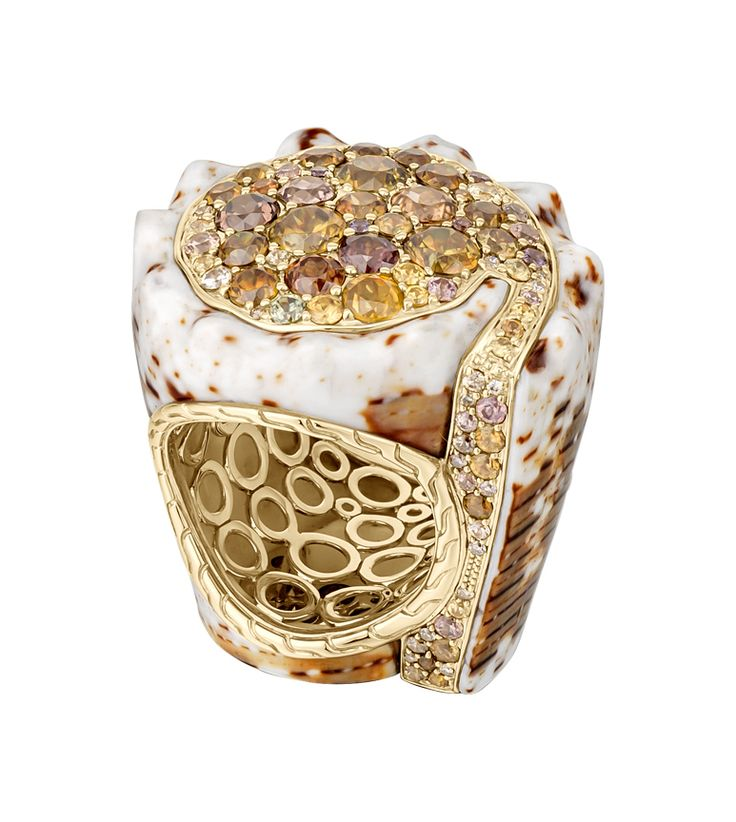 18K yellow Gold marble cone shell ring with multi-color natural Zircon, Sphene and brown Diamonds. #JohnHardy