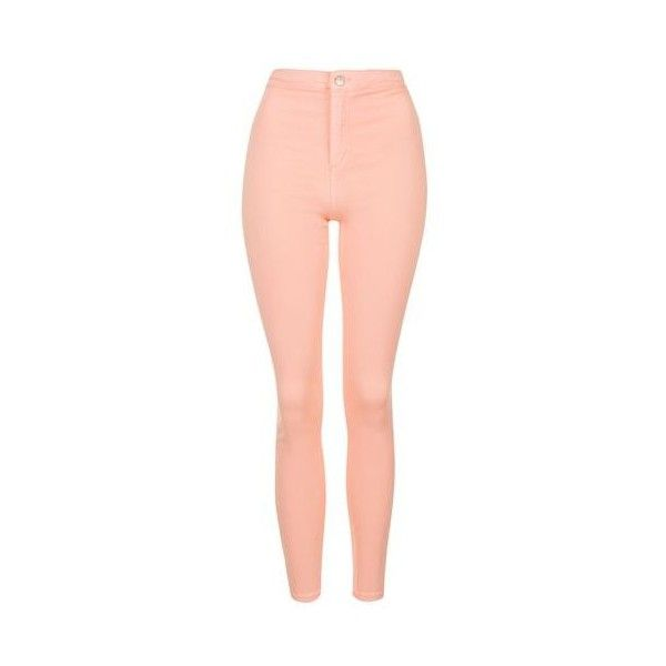 TopShop Moto Peach Joni Jeans ($51) ❤ liked on Polyvore featuring jeans, peach, red skinny jeans, high waisted jeans, high rise skinny jeans, stretch jeans and skinny leg jeans